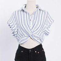 Front Twist Striped Crop Top