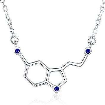 Happiness Serotonin Molecule Necklace with Gems