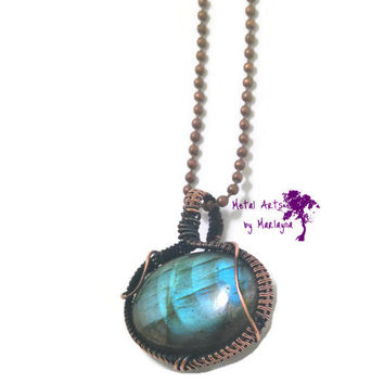 Labradorite Gemstone Necklace Copper Wire Wrapped Pendant Bohemian Hand Wrapped  Steampunk NYC77 Christmas Gi