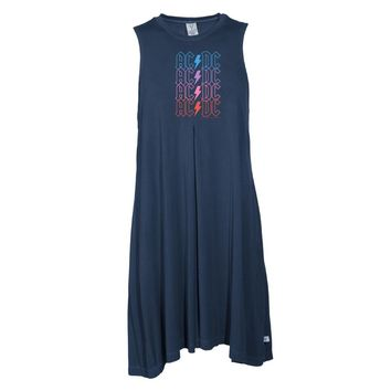 Vinyl Icons AC/DC Faded Lightning Bolt VIAC-058 Women's SS Spandex Pleat Dress