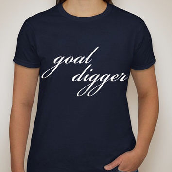 Navy Goal Digger ultra cotton t-shirt available in XS,S,M,L,XL,XXL and 3XL.