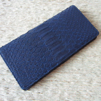 Leather Wallet in Genuine Python Skin Unisex Wallet by mrhanz