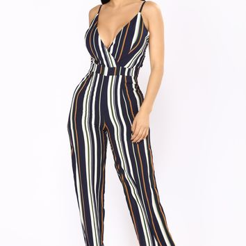 Hyped On Stripes Jumpsuit - Navy