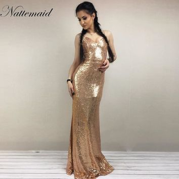 NATTEMAID 2017 Summer Bodycon Night Party Dress Women Maxi Long Sequin Dresses Elegant Backless Sexy Dress Vestido De Festa