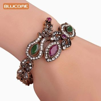 Blucome Latest Vintage Women Party Bangles Red Acrylic Resin Lily Flower Bracelets Full Crystals Turkish Bijuterias Hand Jewelry