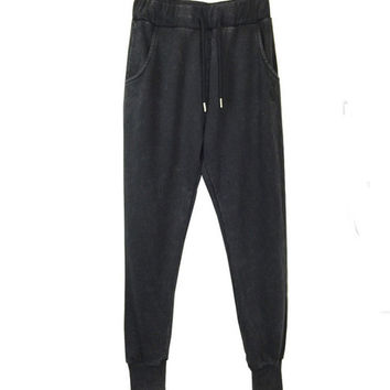 Drawstring Elastic Waist Harem Jogger Pants With Side Pockets