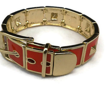 Vintage 1980s French Red Enamel and Gold Buckle Bracelet Marked CN // Fits 6.5 inches to 8 inches