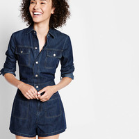long sleeve denim romper