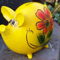 1970s Happy Pig Piggy Bank by AlloftheAbove on Etsy