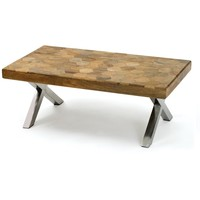 Parquet Wood and Chrome Coffee Table