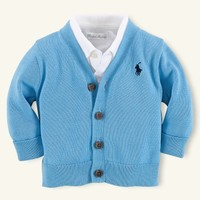 V-Neck Cotton Cardigan - Tops & Bottoms   Layette Boy (Newborn–9M) - RalphLauren.com