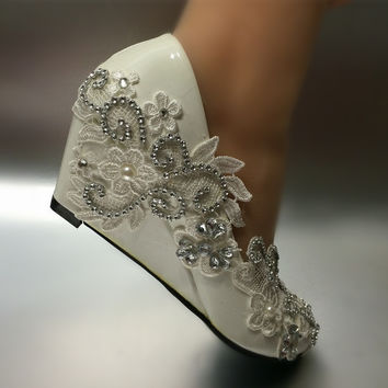 Women Pumps Shoes Lace wedding shoes Free Shipping Crystal pearls Med heels Round Toe Shoes