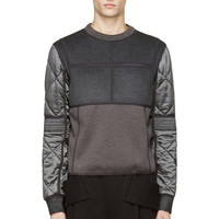 Calvin Klein Collection Grey Quilted Cupro And Wool Gotham Sweatshirt