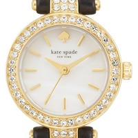 Women's kate spade new york 'tiny metro' crystal bezel leather strap watch, 20mm