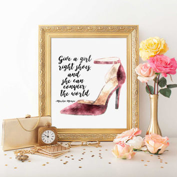 "PRINTABLE ART ""The Right Shoes Conquer The World"" Marilyn Monroe shoe quote shoe print marilyn monroe quote fashion print Instant Download"
