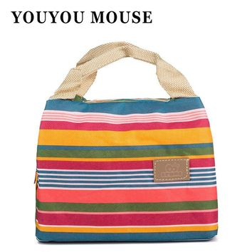 YOUYOU MOUSE Lunch Bag Canvas Stripe Thermal Bags Kids Baby Tote Picnic Lunchbox Lunch Package Convenient Portable