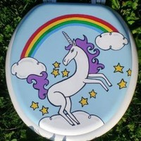 Unicorn and Rainbow Toilet Seat Hand Painted by OmGurl by omgurl