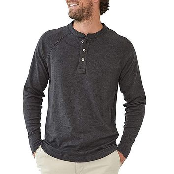 Long Sleeve Puremeso Henley Tee in Charcoal by The Normal Brand