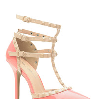 Blush Faux Patent Leather Studded Pointed Toe Single Sole Heels
