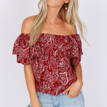 Off-The-Shoulder Paisley Print Top Burgundy