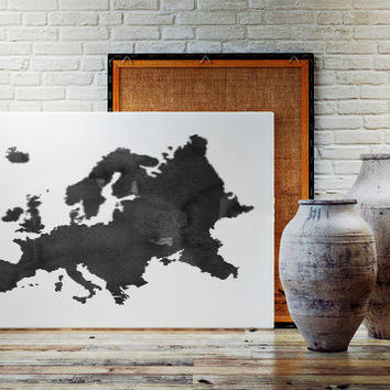WATERCOLOR EUROPE MAP Europe Map Watercolor Painting Watercolor poster Handmade poster Continent poster World Map Europe Printable Handmade
