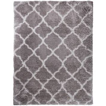 Home Dynamix Oxford Trellis 5-Foot 3-Inch x 7-Foot Shag Area Rug in Grey