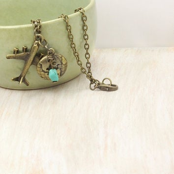 Bronze Airplane Necklace,  Bronze World Traveler Necklace