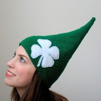 Little Leprechaun From the Emerald Isle  - Green and White Clover St. Patricks Day Irish Child or Adult Elf Hat - ready to ship