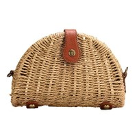 Rattan Straw Crossbody Messenger Bag