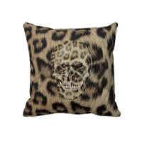 Mod & Girly leopard print Skull on leopard Throw Pillow