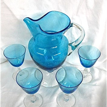 Vintage Blue Glass Pitcher and Wine Glasses