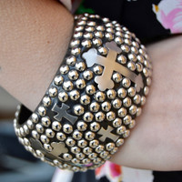 Studded Cross Bangle Bracelet