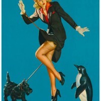 Dog Walking Pin-up Girl Poster 11x17