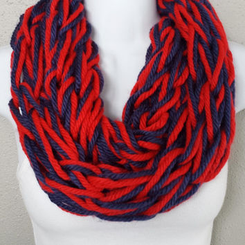 Red & Navy Arm Knitted Infinity Scarf New England Team Colors Arm Knit Scarf Womens Patriotic Knitted Scarves Red and Blue Knitted Scarf