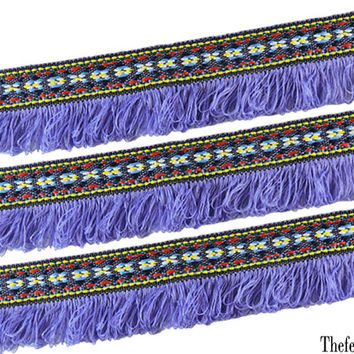 Fringe Trim Tribal Tapestry Embellishment Woven Embroidered Trim Purple Native Fringe Tribal Cotton Woven Fringes Tape Tribal Embellishment