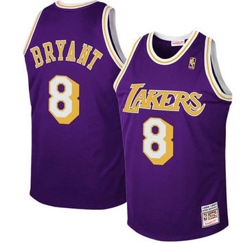 Mitchell & Ness Los Angeles Lakers #8 Kobe Bryant Purple 1997 Authentic Hardwood Classics Road Jersey