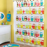 18 Pc Perched Owl Complete Bathroom Collection Shower Curtain Hooks Rug & More