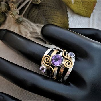 Rubi Israel Sterling Silver 18K Gold Amethyst Unique Openwork Ring Size 8 1/2