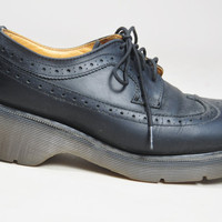 VINTAGE 90s grunge black leather Doc Martens oxford creepers lace up shoes club kid rave size 8