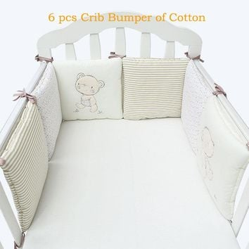 Children infant crib bumper bed protector baby kids cotton cot nursery for boy and girl bedding 6pc plush bear bumper