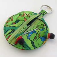 TMNT Earbud Holder / Teenage Mutant Ninja Turtles Coin Purse / Circle Pouch
