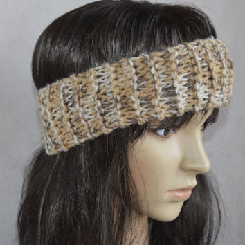 Brown Shades Headband, Hair Accessories, Hand Knit Cable Ear Warmer, Soft and Warm Headband, Acrylic Yarn Blend
