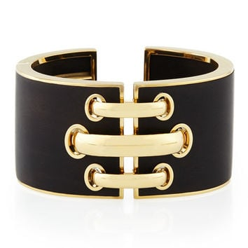David Webb 18k Gold Ebony Shoelace Cuff Bracelet