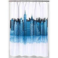 Metropolitan Cityscape Fabric Shower Curtain Size: 70 inch  x 72 inch