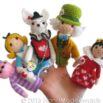ALICE in WONDERLAND Finger Puppets Pdf Email Knit PATTERN