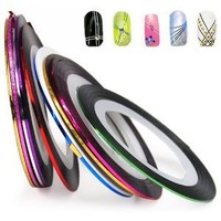 BONAMART ® World Pride Nail Tape Stripe Decoration Sticker Hologram, Set of 10