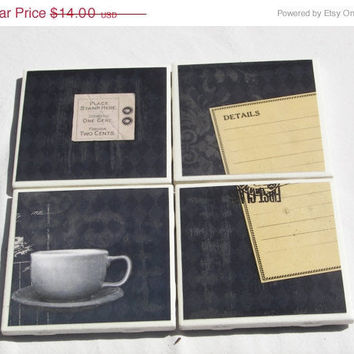 Decorative Tile Table Coasters in Coffee and Sunday Morning Theme -- (4)