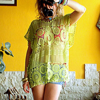 Green Lace Tunic, Lace Bikini Cover Up, Hand Dyed Tunic, Cotton Lace Top, Bohemian Top, Lace Blouse, Bikini Cover Up, Festival Outfit, Gypsy
