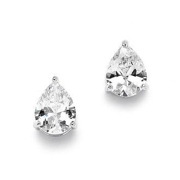 1CT Pear Cut Russian Lab Diamond Solitaire Stud Earrings