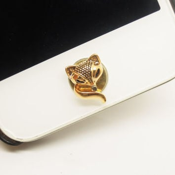 1PC Retro Fox iPhone Home Button Sticker Charm for iPhone 4,4s,4g,5,5c Cell Phone Charm Friend Gift